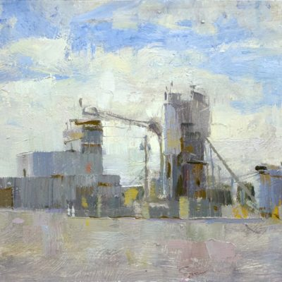 """Port Orange Cement Factory"" Oil on board. 8x16 inches"