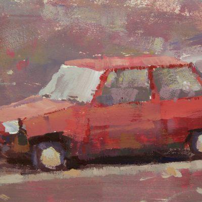 """Reykjavik Car Study"" Gouache on illustration board. 4.5x8.5 inches"