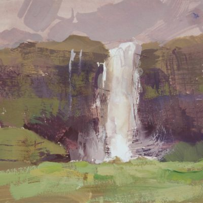 """The Seljalandsfoss Waterfall"" Gouache on watercolor paper. 5.5x9 inches."