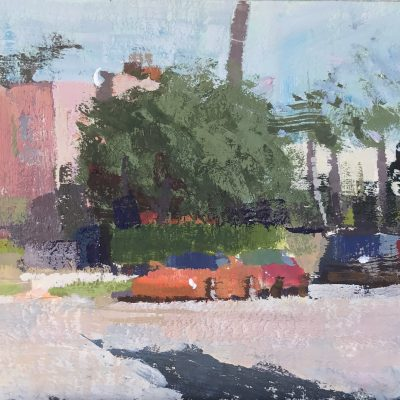 """Two Sports Cars"" Gouache on board. 3.5x3.75 inches."