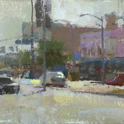 """Venice Boulevard at Sunset"" Oil on canvas. 6x11 inches."