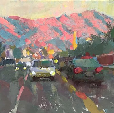 """Burbank Sunset"" Gouache on board. 5x10 inches"