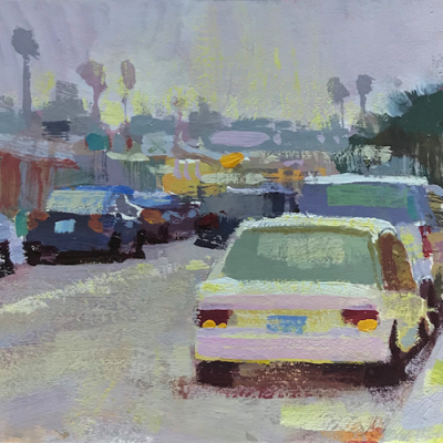 """Culver City Morning"" Gouache on board. 4x4.5 inches"