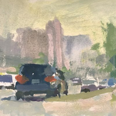 """Los Angeles Morning"" Gouache on board. 5x8 inches"