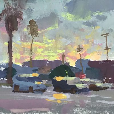 """Palms Sunrise"" Gouache on board. 4x4 inches"