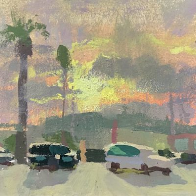 """Palms Sunrise 2"" Gouache on board. 3.5x5 inches"