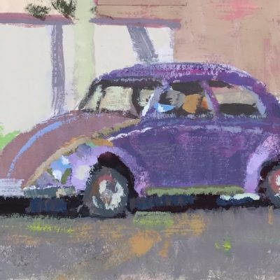 """Purple Beetle"" Gouache on board. 3.5x5 inches"