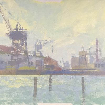 """San Francisco Harbor"" Gouache on board. 5x5 inches"