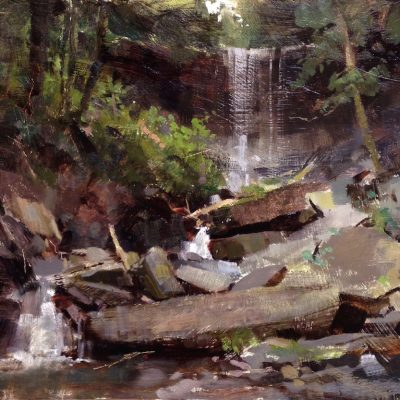 """Tinker Falls, New York"" Oil on board. 16x18 inches"