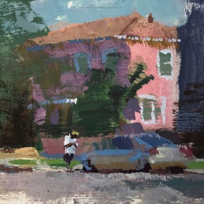 """""""Waiting for a Ride"""" Gouache on board. 4x4.5 inches"""