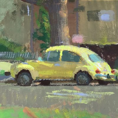 """Yellow Beetle"" Gouache on board. 4.5x5 inches"
