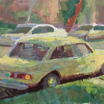 """Yellow BMW"" Gouache on board. 5x8 inches"