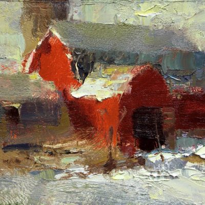 """Red Barn"" Oil on board. 6x7.5 inches"
