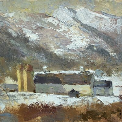 """Park City Barn II"" Oil on board. 8x12 inches."