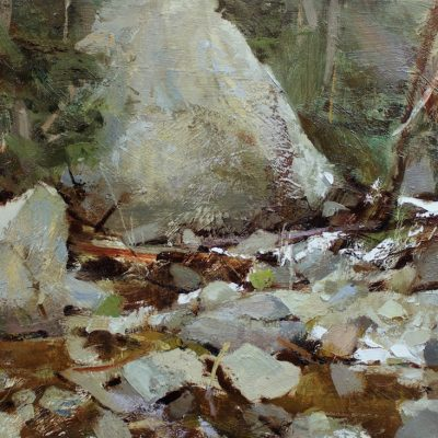 """Rocks of Cottonwood Creek"" Oil on board 12x16 inches."