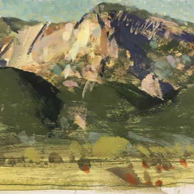 """Fillmore Mountains"" Gouache on board. 4x5 inches"