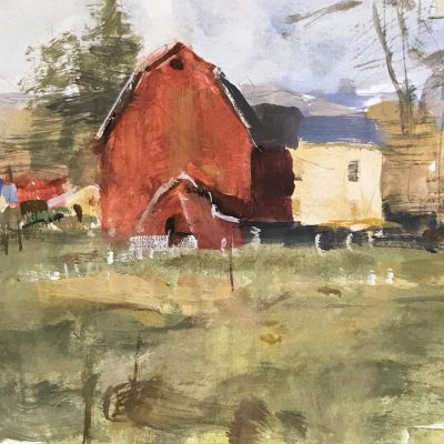 """Afternoon Barn Study"" Gouache on board. 6x8 inches"