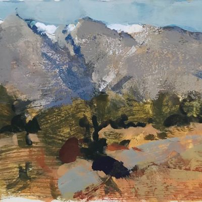 """Southern Utah Mountains"" Gouache on board. 4x5 inches."