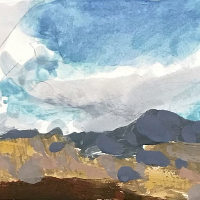 """Provo Clouds"" Gouache on board. 3.5x6 inches."