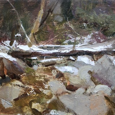 """Little Cottonwood Creek"" Oil on board. 8x12 inches"