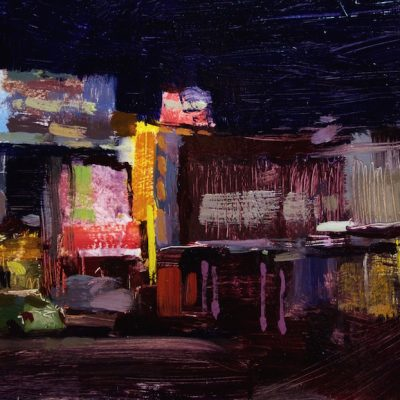 """Culver City at Night"" Oil on board. 8x16 inches"