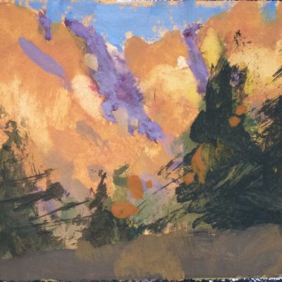 """Utah Sunset"" Gouache on watercolor paper. 4x6 in. $350"
