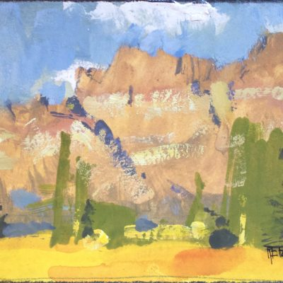 """Afternoon in Utah"" Gouache on paper. 4x6.25 in. $350"