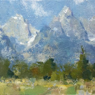 """Cloud Shapes on the Tetons"" Oil on board. 10x12 in. $900"