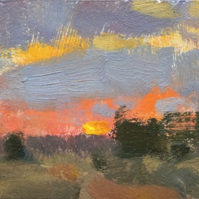 """Colorado Sunset"" Oil on Board. 3.5x7 in. $350"