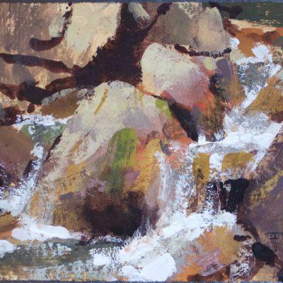 """Mountain Creek"" Gouache on watercolor paper. 4.5x6.5 in. $350"