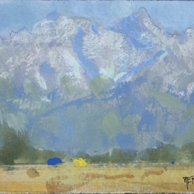 """Provo Mountain View"" Gouache on watercolor paper. 4.25x6 in. $350"