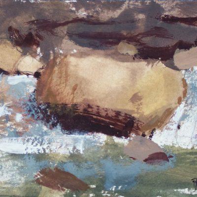"""Rushing Creek"" Gouache on watercolor paper. 4.25x6.25 in. $350"