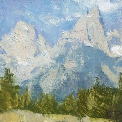"""Snapshot of the Tetons"" Oil on board. 5.5x8 in. $500"