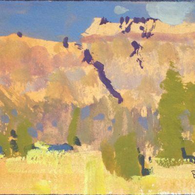 """""""Utah Afternoon II"""" Gouache on watercolor paper. 4x6 in. $350"""