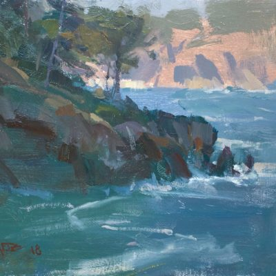 """""""A Cove at Point Lobos"""" Oil on canvas. 9x14 inches. Available"""