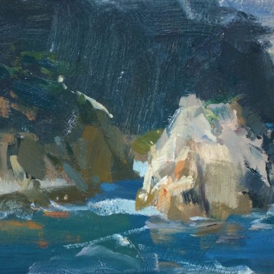 """""""Big Shapes of Point Lobos"""" Oil on board. 9x16 inches. Available"""