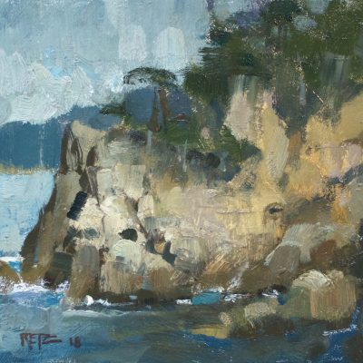 """""""Cypress Cliffs"""" Oil on board. 8x10 inches. Available"""