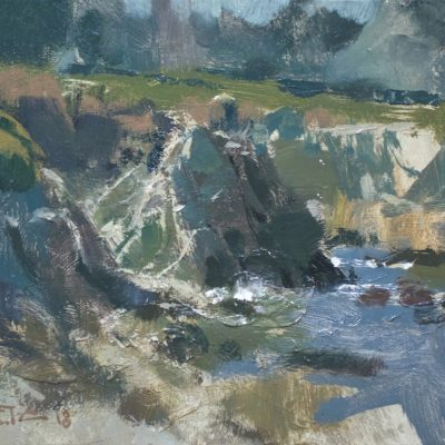 """""""Pacific Grove Shapes"""" Oil on board.  8x10 inches. Available"""