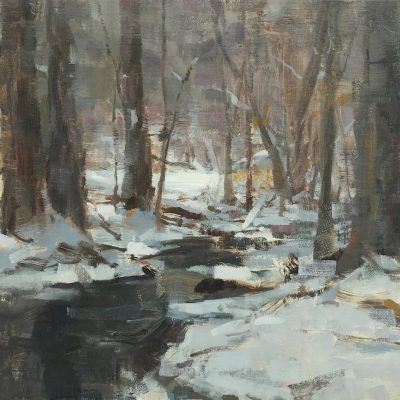 """""""Soft Sunlight by the Creek"""" Oil on canvas. 16x20 inches. Sold."""