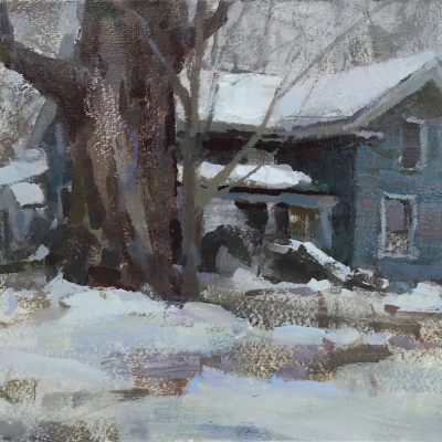 """Winter Shelter"" Acrylic on board. 8x12 inches. $700"