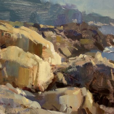 """""""A Walk on the Rocks"""" Oil on board. 11x16 inches. Available"""