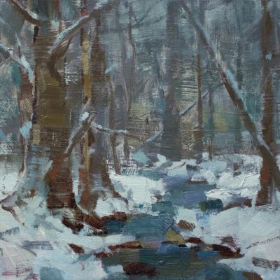 """""""Lively Winter"""" Oil on canvas. 11x14 inches. $1000"""