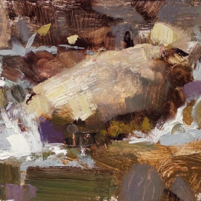 """""""Canyon Stream"""" Oil on board. 6x12 inches. $650"""