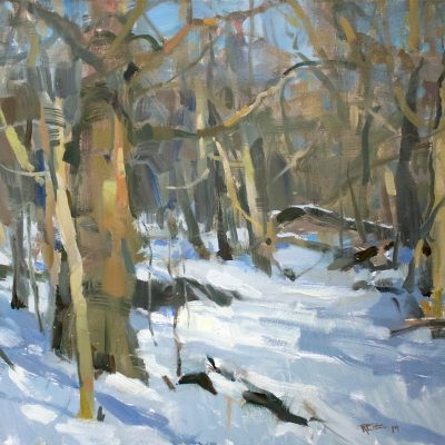 """""""Midday in Winter"""" Oil on canvas. 18x24 inches."""
