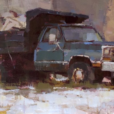 """Truck"" acrylic on board. 6.5x11.5 inches. $600"