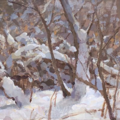 """Fresh Snow in the Morning"" acrylic on board. 6.5x10.5 inches. $400"