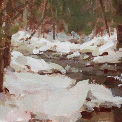 """Walk a long the Creek"" acrylic on paper. 6x12 inches. $600"