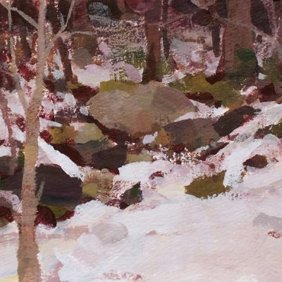 """Melting Snow"" acrylic on paper. 6x12 inches. $450"