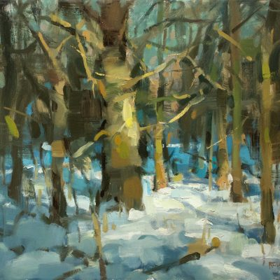 """""""Sunlight and Snow"""" oil on canvas. 16x20 inches."""