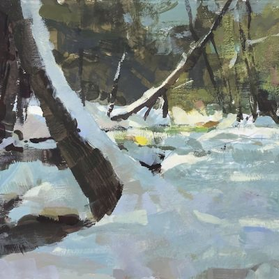 """Vermont Mountain Stream"" gouache on board. 6.5x11.5 inches $450"